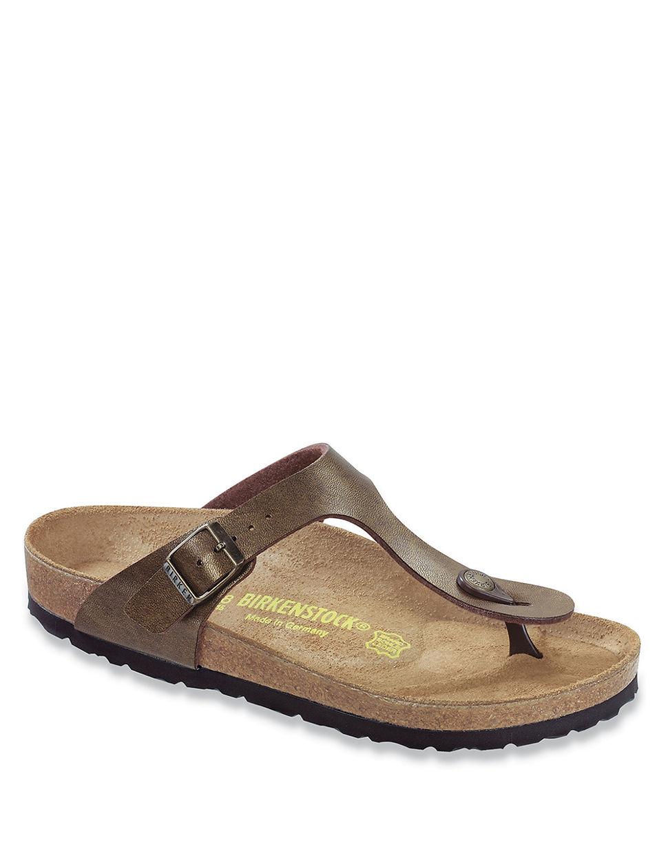 birkenstock gizeh birko flor t strap sandals in brown lyst. Black Bedroom Furniture Sets. Home Design Ideas