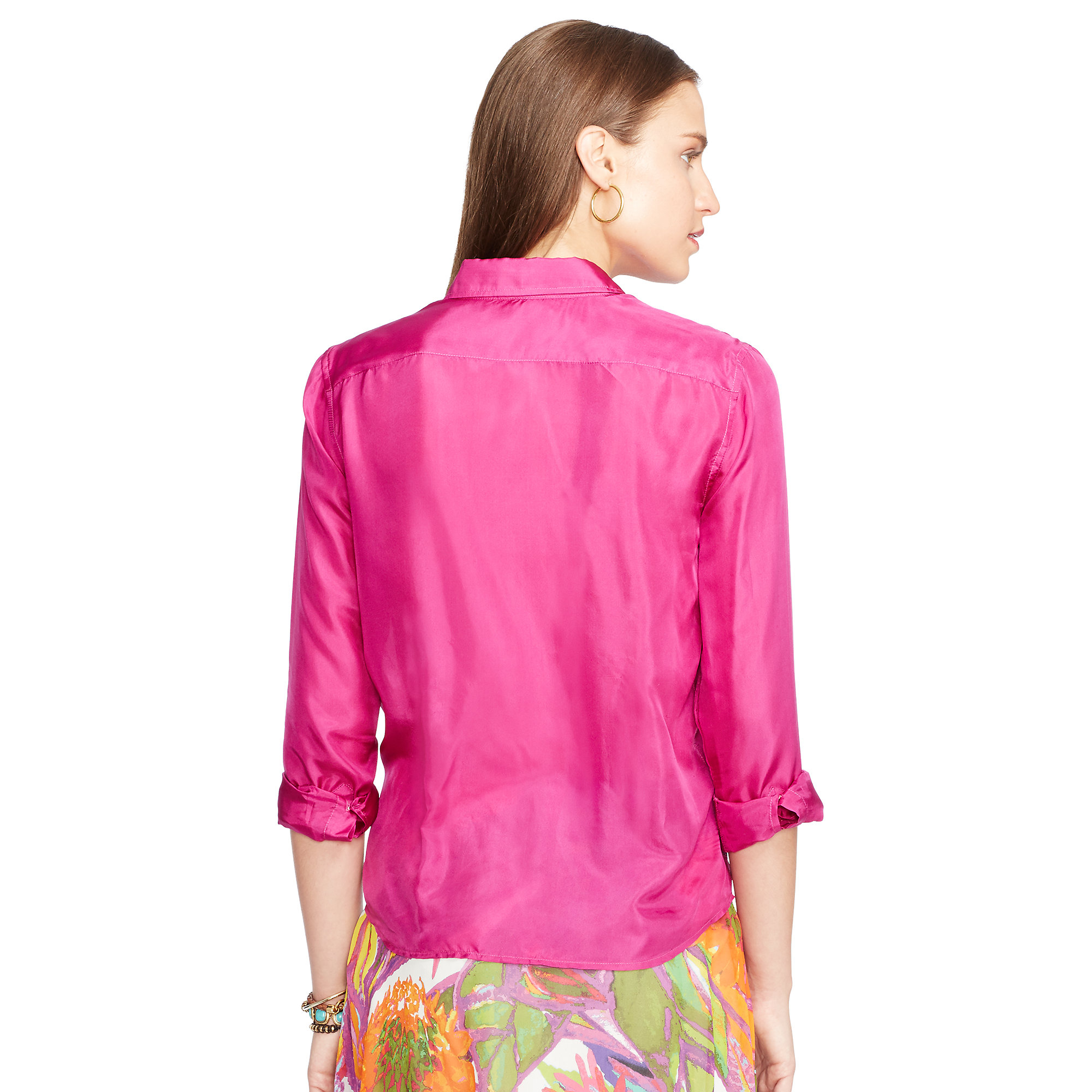 53d383302089de Lyst - Ralph Lauren Silk-cotton Tie-front Shirt in Pink