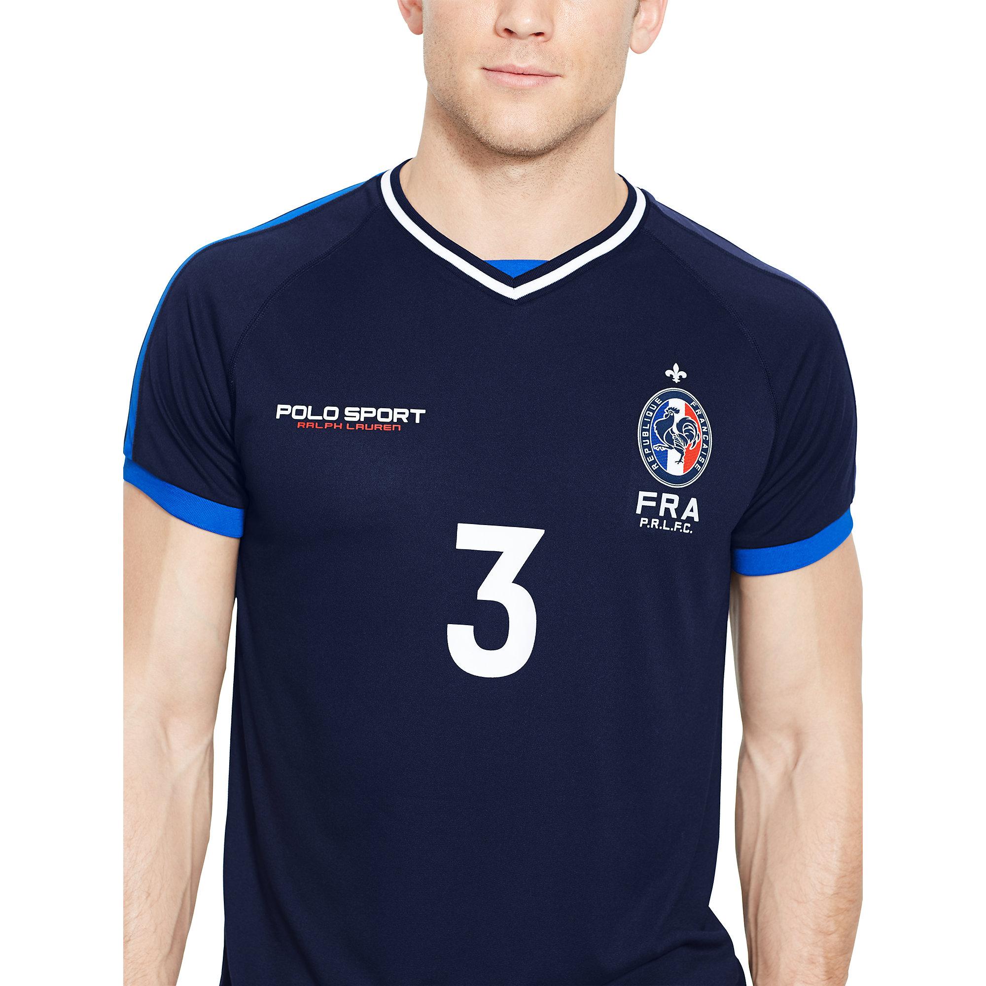 Lyst Ralph Lauren France Jersey T Shirt In Blue For Men