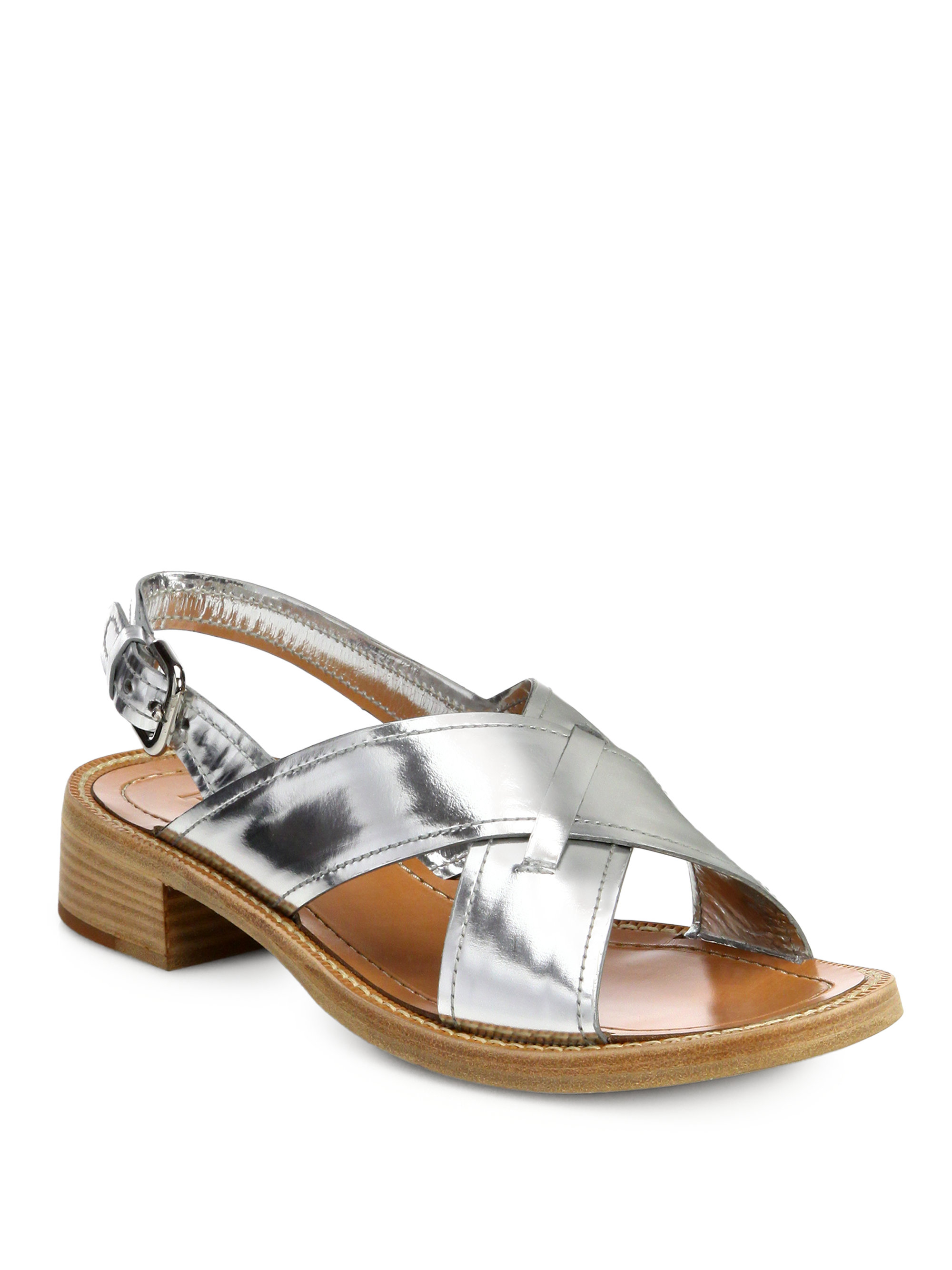 811116566a1 Lyst - Prada Metallic Leather Criss-Cross Sandals in Metallic