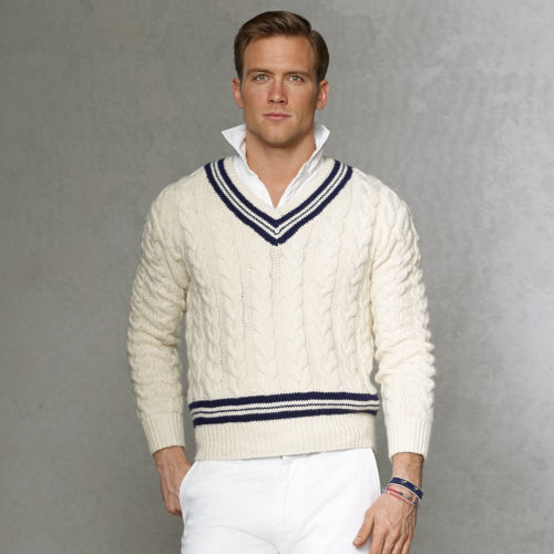 Knitting Pattern For Cricket Sweater : Polo ralph lauren Cableknit Cricket Sweater in Natural for Men Lyst