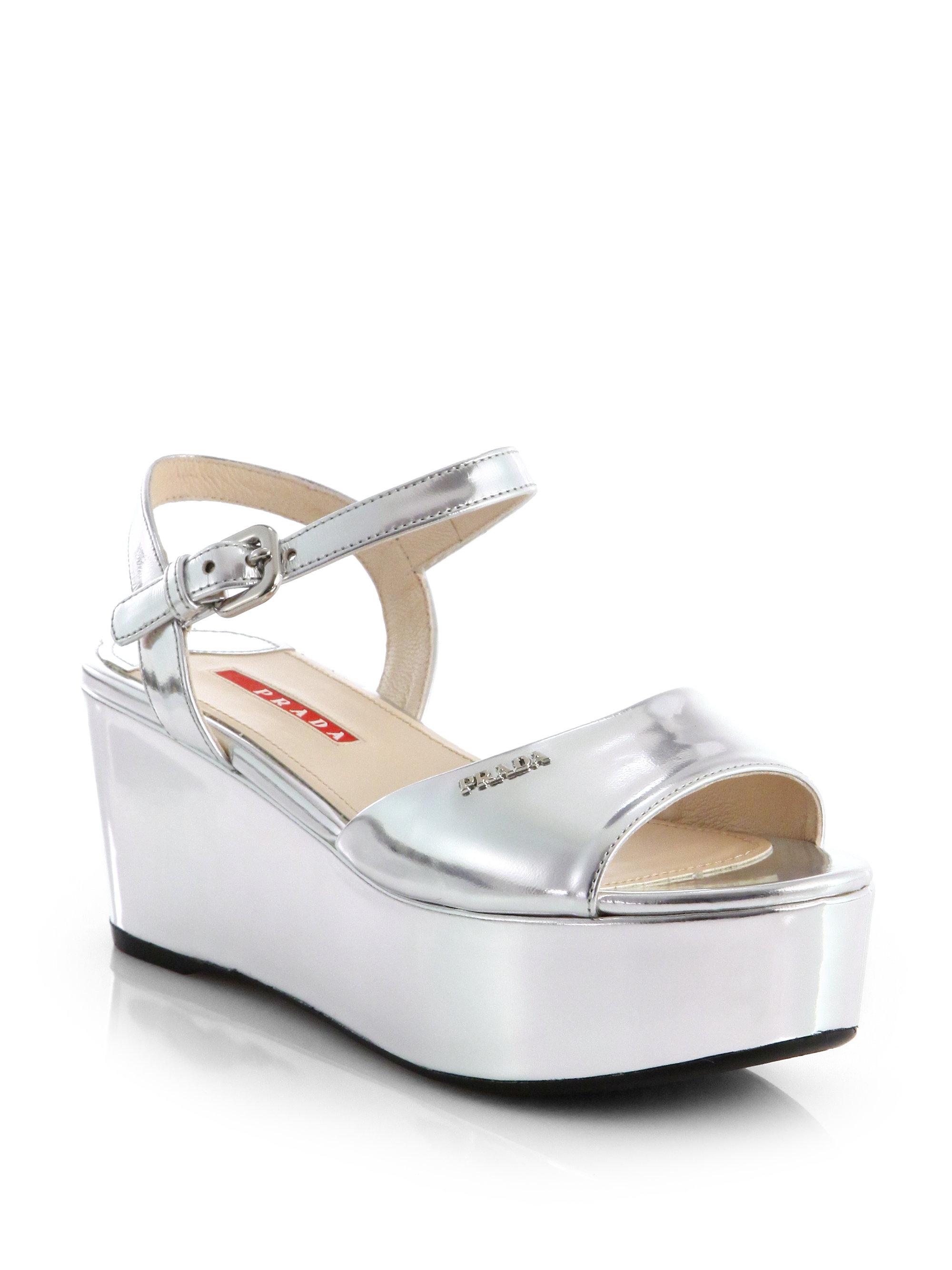 0881da796e75 Lyst - Prada Metallic Leather Platform Wedge Sandals in Metallic