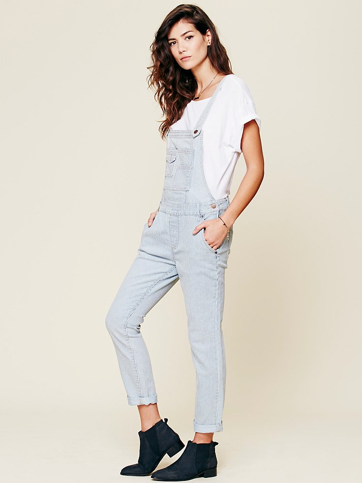 f6c3a2df38 Lyst - Free People Railroad Printed Overall in Blue
