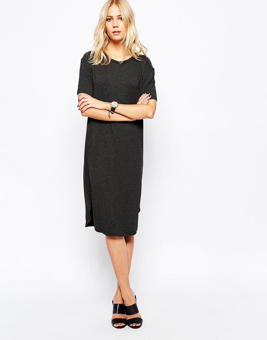 Lyst Just Female Gilli Long T Shirt Dress In Black Melange In Gray