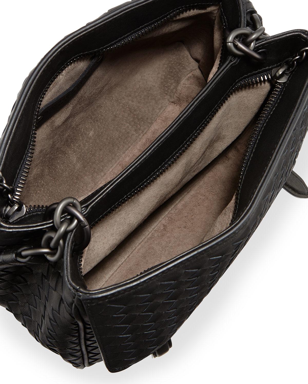 4d52ba4e4a37 Lyst - Bottega Veneta Intrecciato Medium Flap-tab Bag in Black