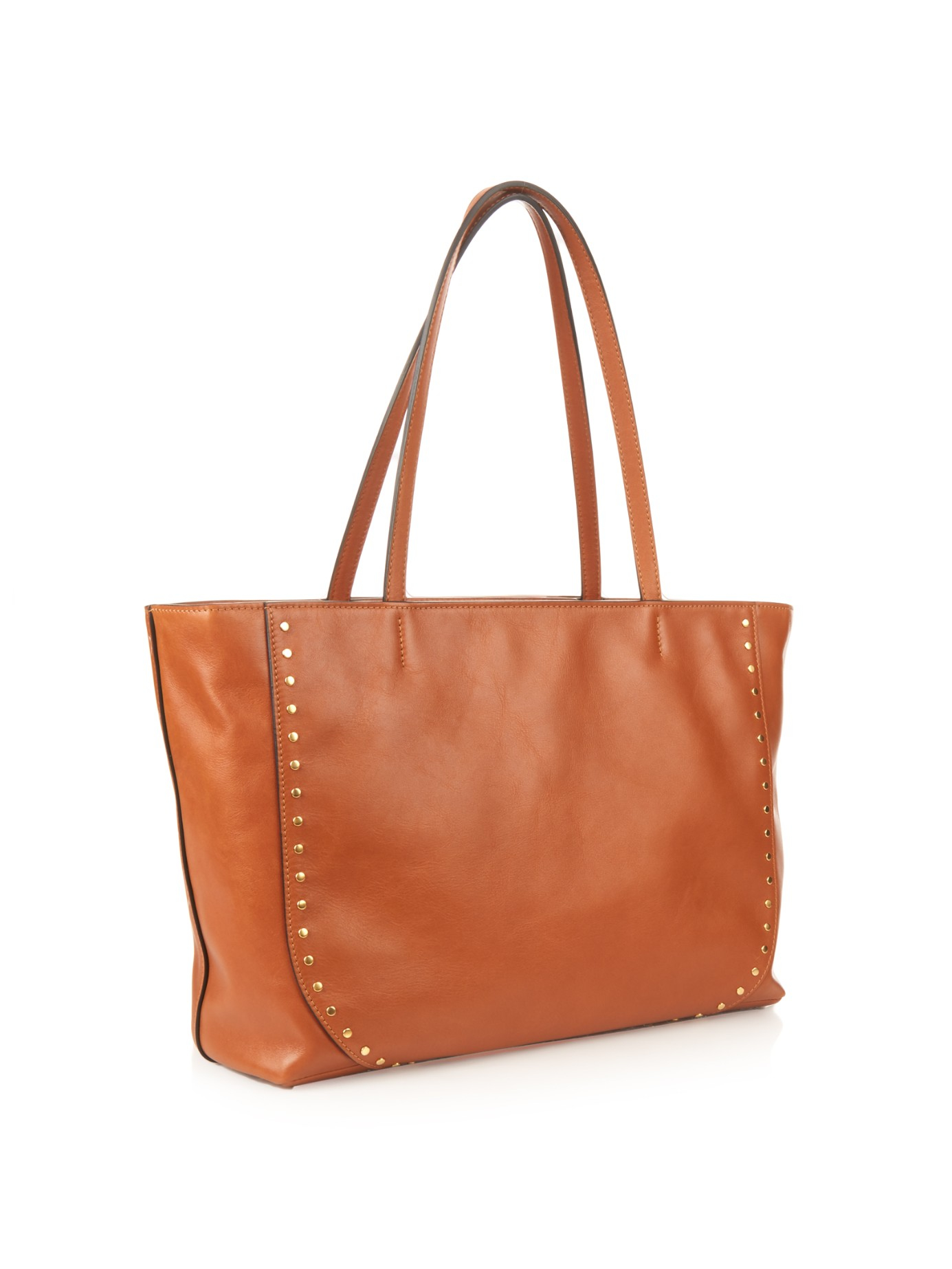 chleo handbags - Chlo�� Isa Studded Leather Tote in Brown (TAN) | Lyst