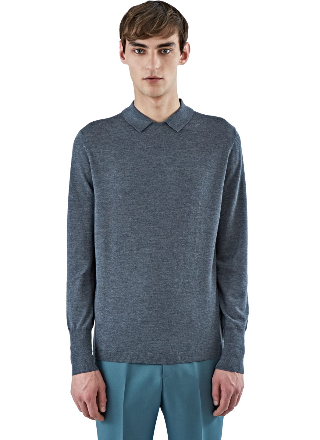 lyst acne studios men 39 s janeck collared sweater in grey in gray for men. Black Bedroom Furniture Sets. Home Design Ideas