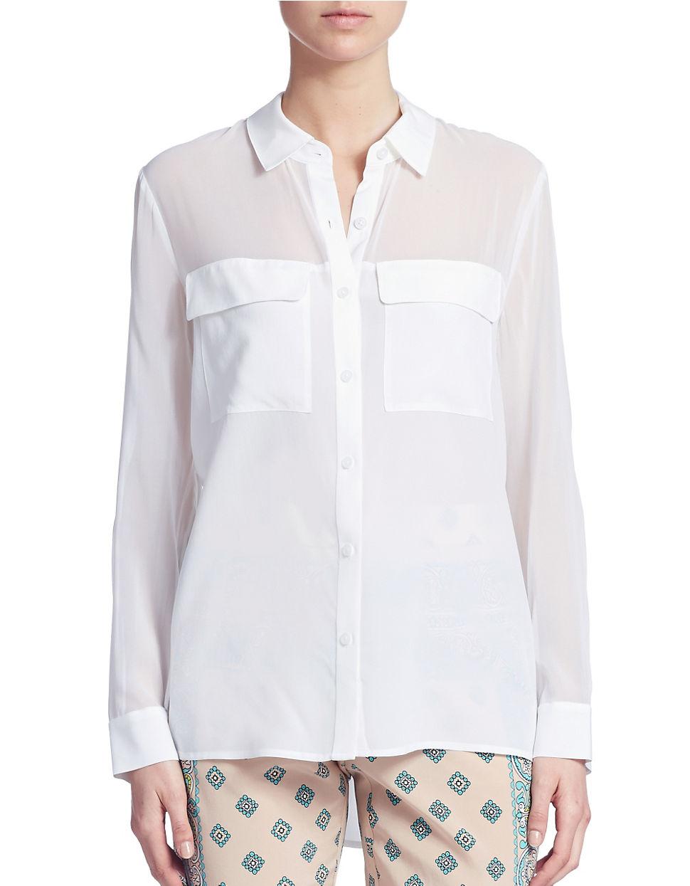 Dkny silk button down blouse in white lyst for Silk button down shirt