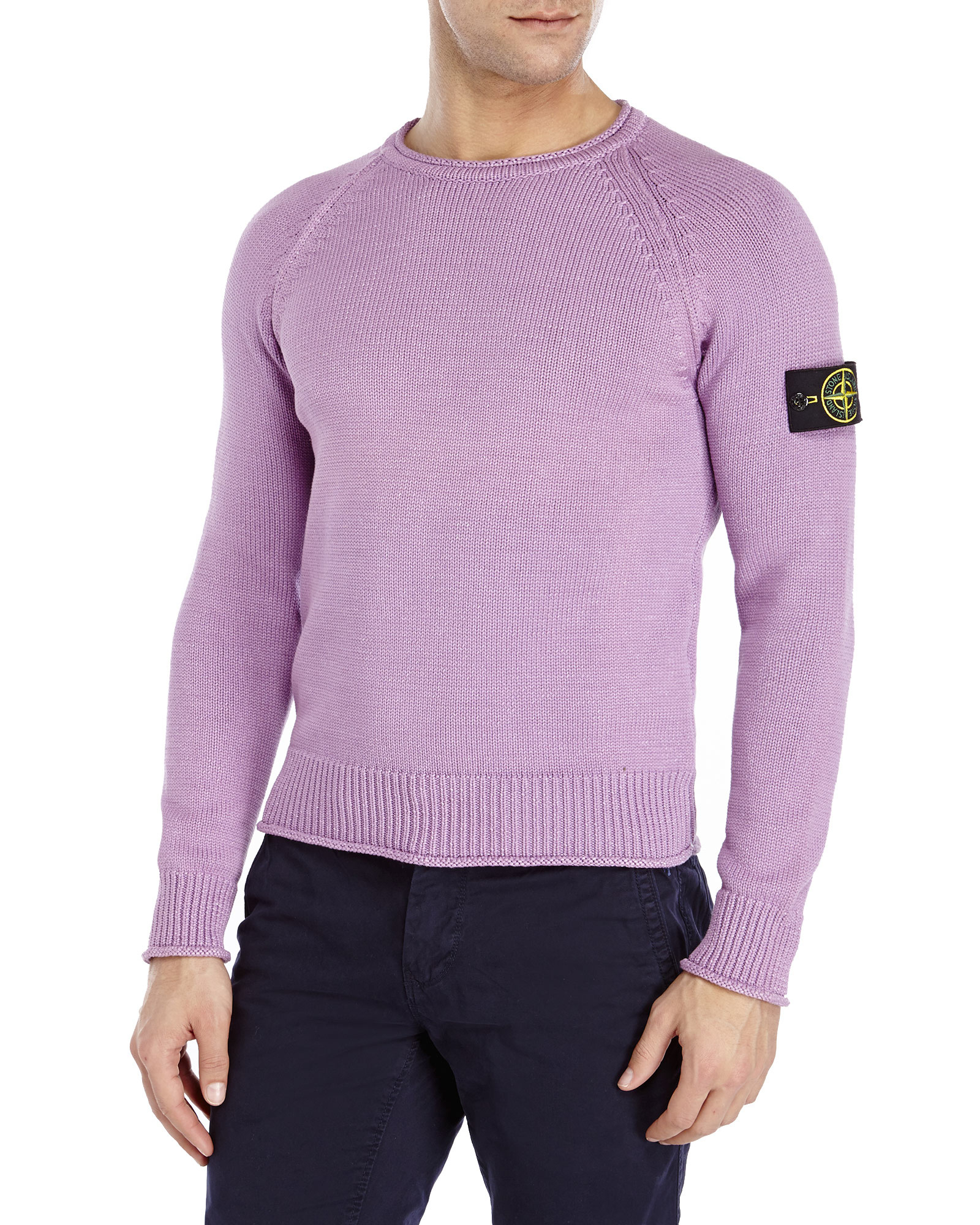 Lyst Stone Island Crew Neck Knit Sweater In Purple For Men