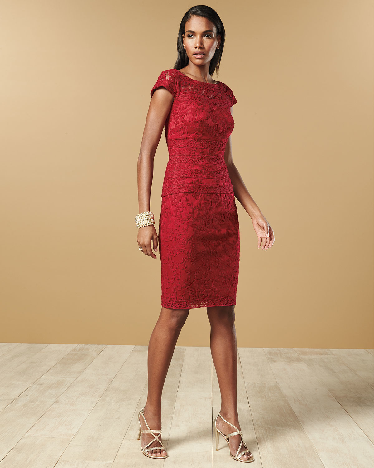 Tadashi shoji Filigree Embroidered Lace Cocktail Dress in Red | Lyst