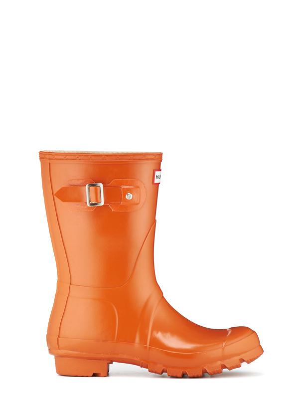 Lyst Hunter Original Short Gloss Rain Boots In Orange