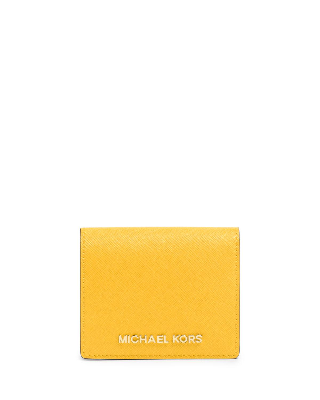 Lyst michael michael kors jet set travel saffiano card holder in gallery colourmoves