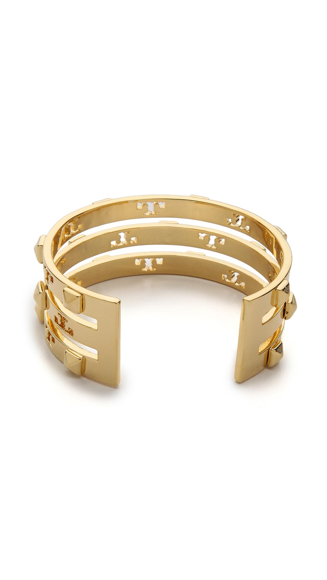fdced0125dd Tory Burch Stacked Logo Stud Cuff Bracelet Shiny Gold in Metallic - Lyst