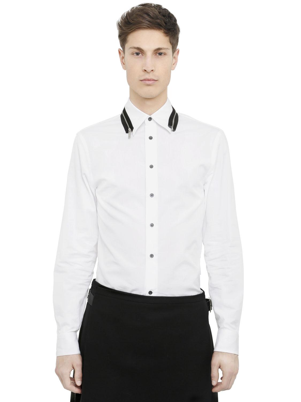 Lyst alexander mcqueen zipper detail cotton poplin shirt for Alexander mcqueen shirt men