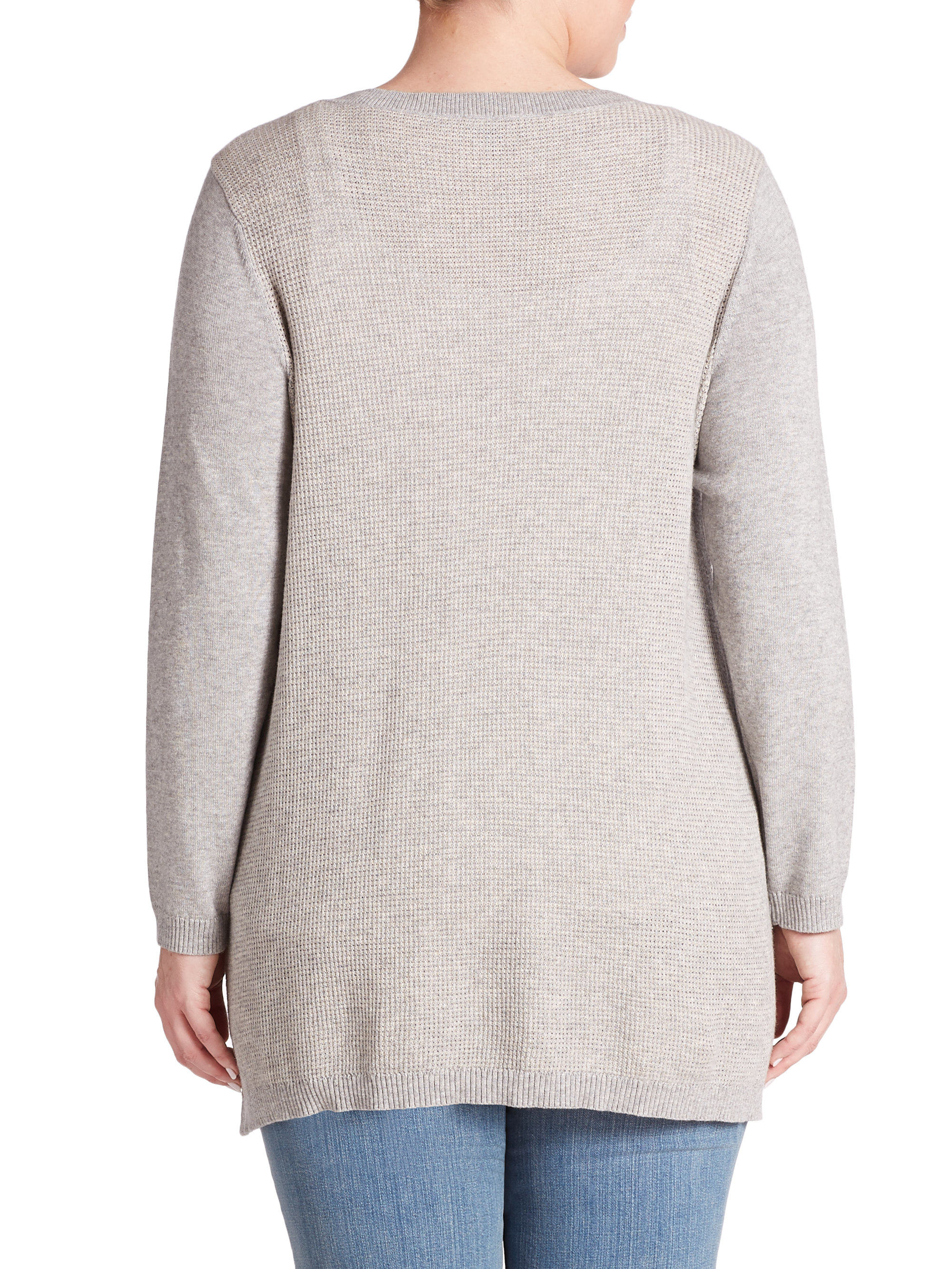 Eileen fisher Cotton/cashmere Sweater in Gray | Lyst