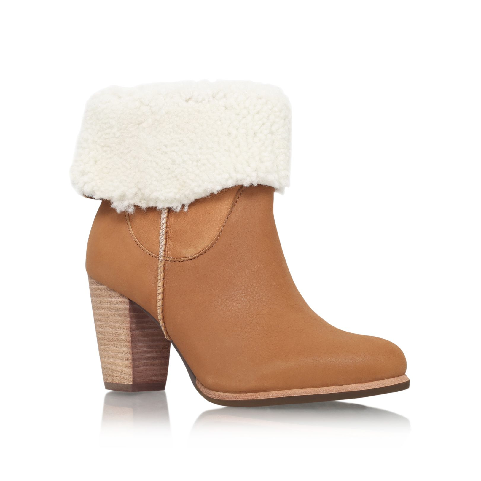 ugg charlee high heel fur cuff ankle boots in brown lyst