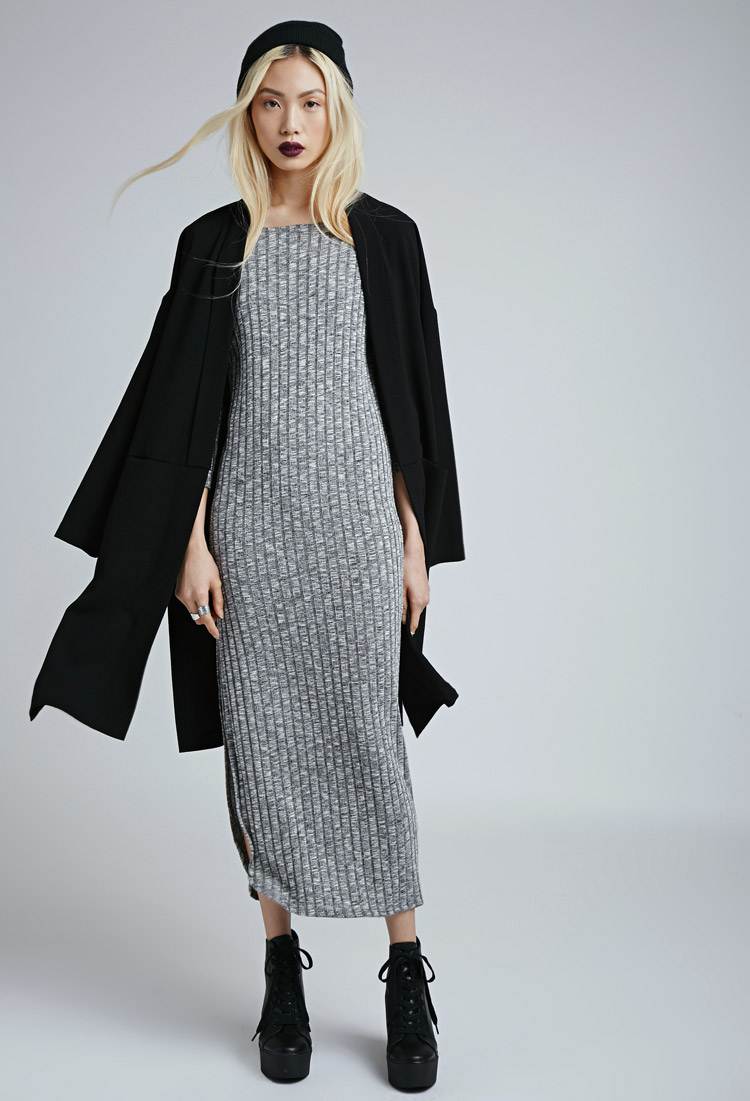 Forever 21 Marled Side-slit Maxi Dress in Gray | Lyst