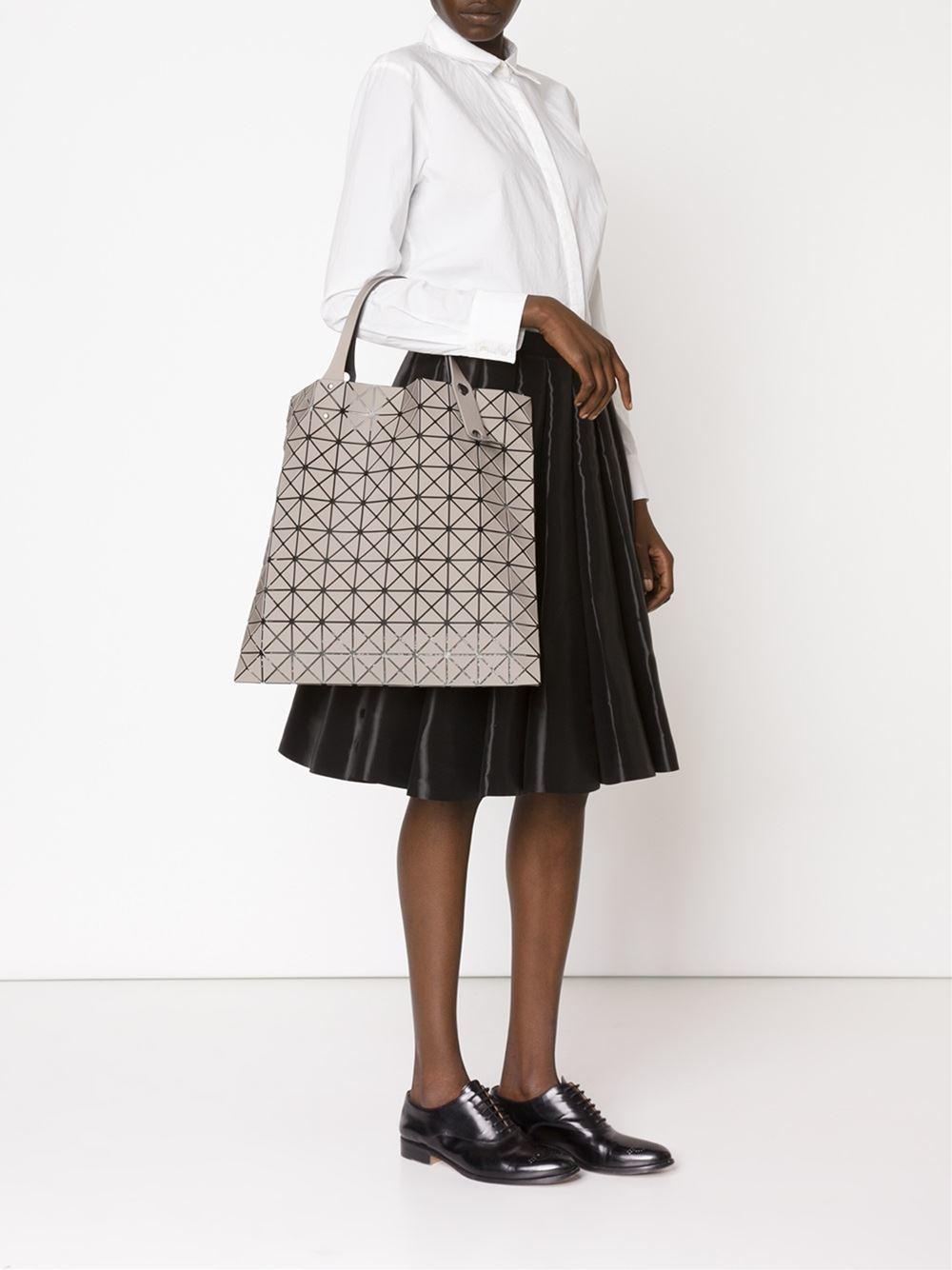Lyst Bao Bao Issey Miyake Geometric Pattern Tote Bag In Gray