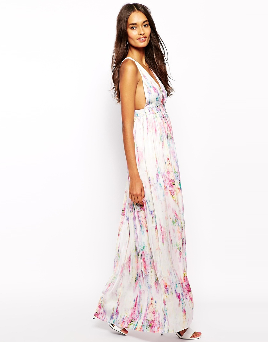 Lyst Oh My Love Plunge Neck Maxi Dress In Print