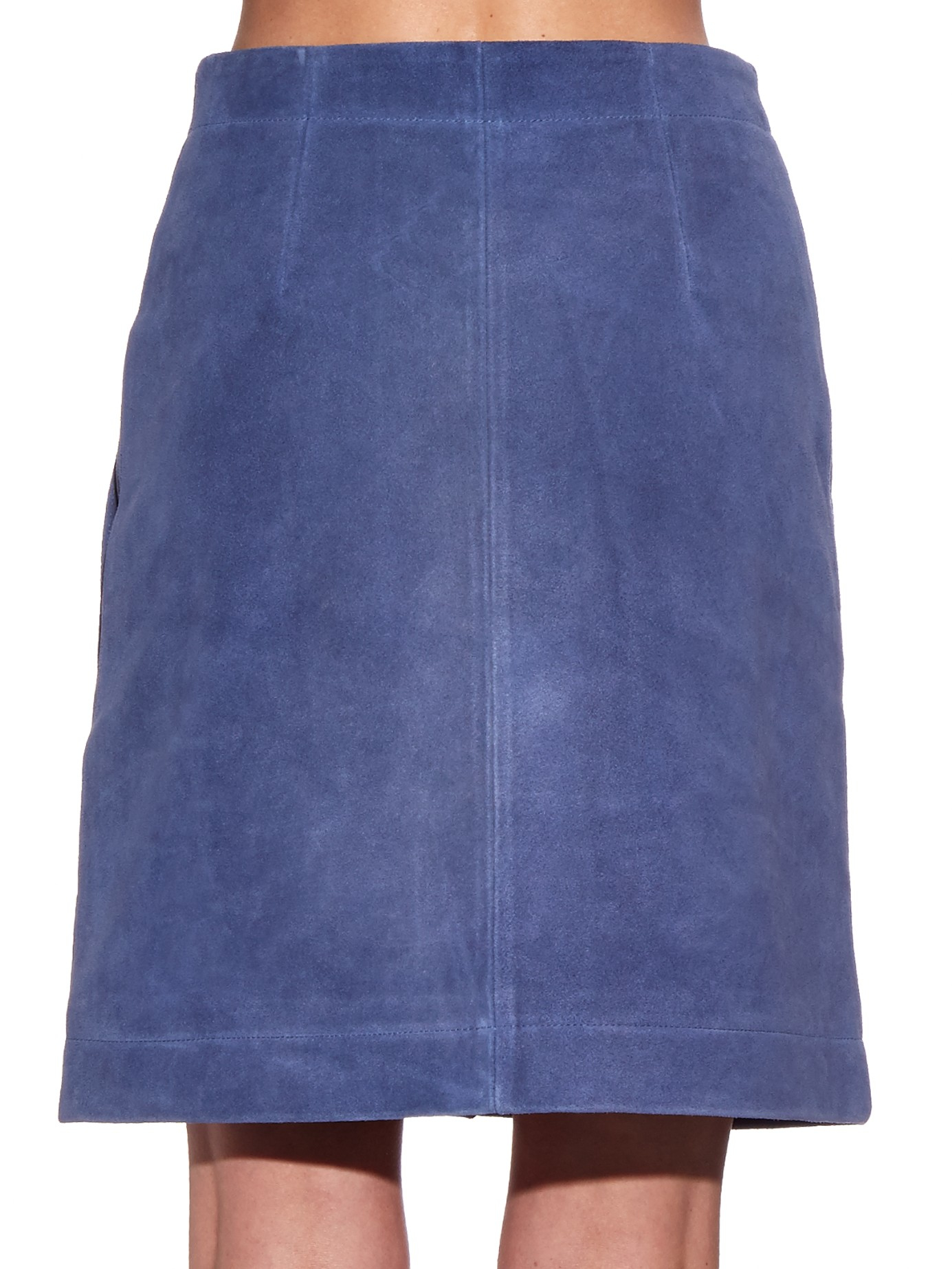 bruno ath 233 button front suede skirt in blue lyst