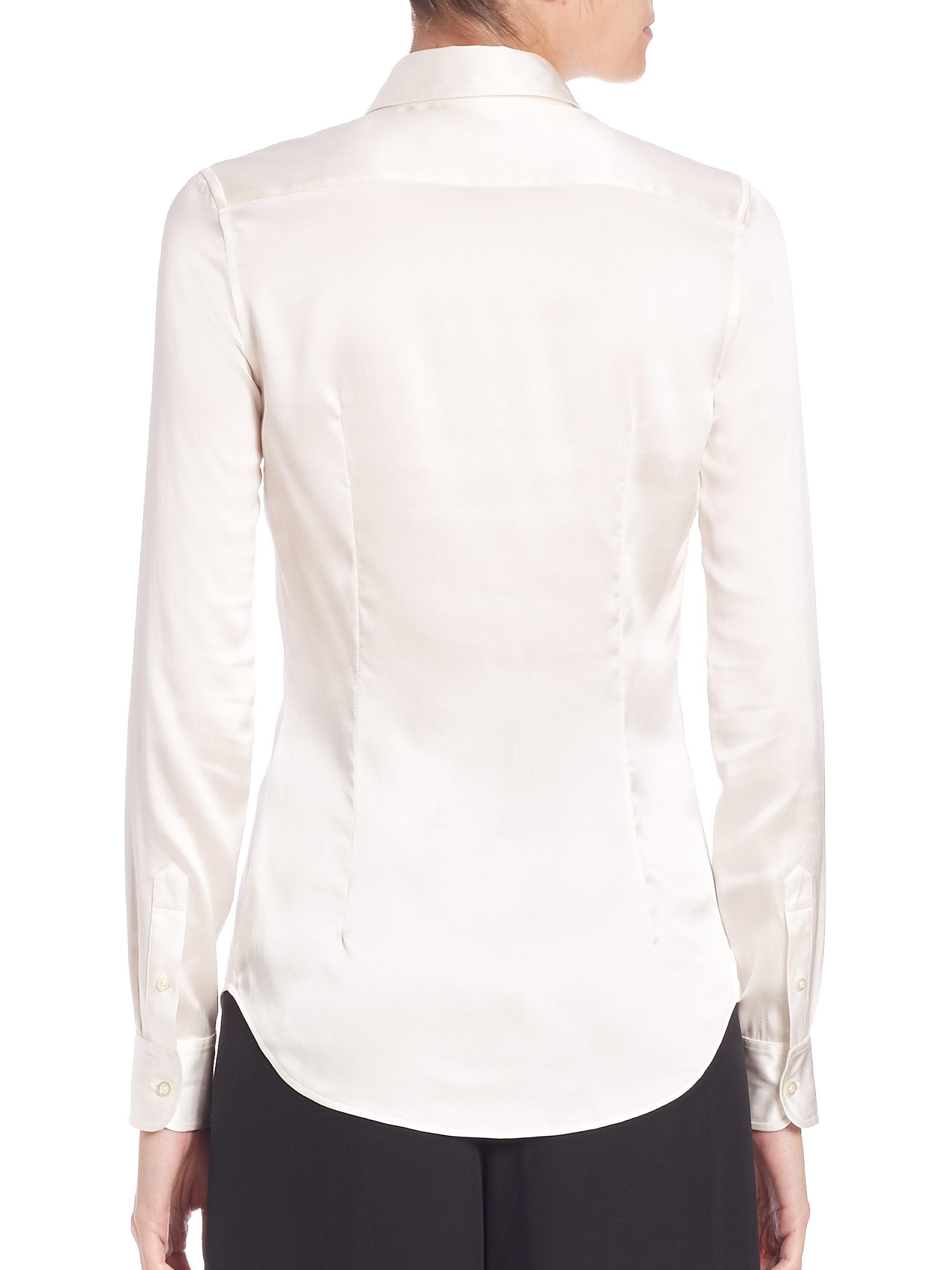 Lyst Ralph Lauren Collection Cindy Stretch Silk Button Down Blouse