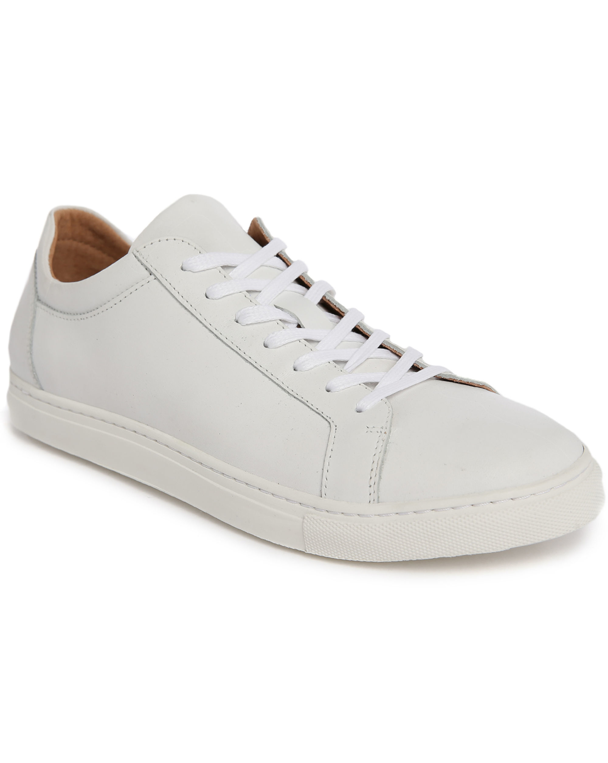 selected white duran leather low top sneakers with beige