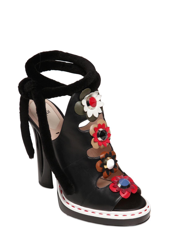 b063bc5783e85f Lyst - Fendi 125mm Flower Appliqués Leather Sandals in Black