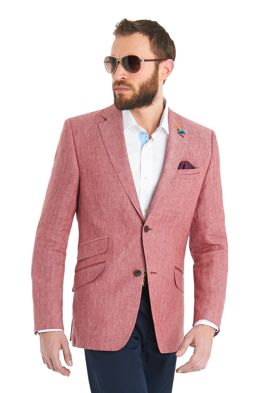 Ted baker Tailored Fit Pink Herringbone Linen Jacket in Pink for ...