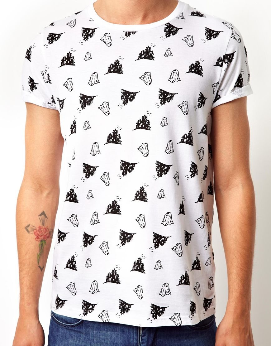 Lyst Asos T Shirt With All Over Ghost Print In White For Men