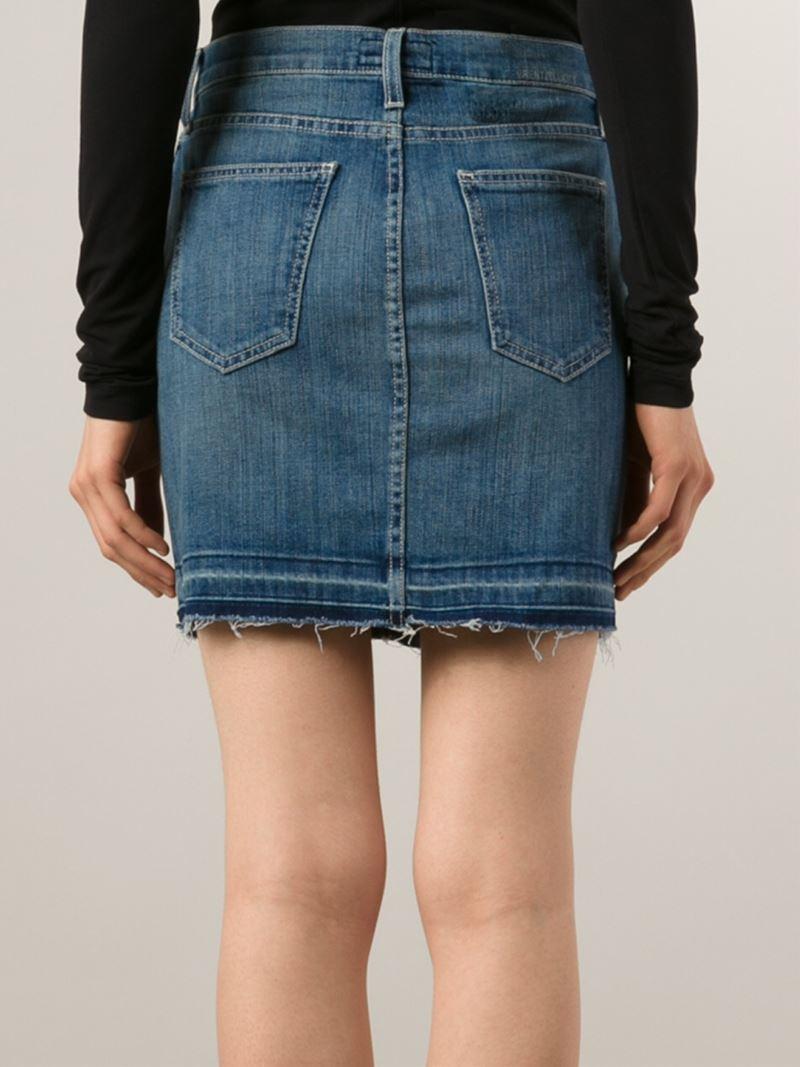 Current/elliott Denim Mini Skirt in Blue | Lyst
