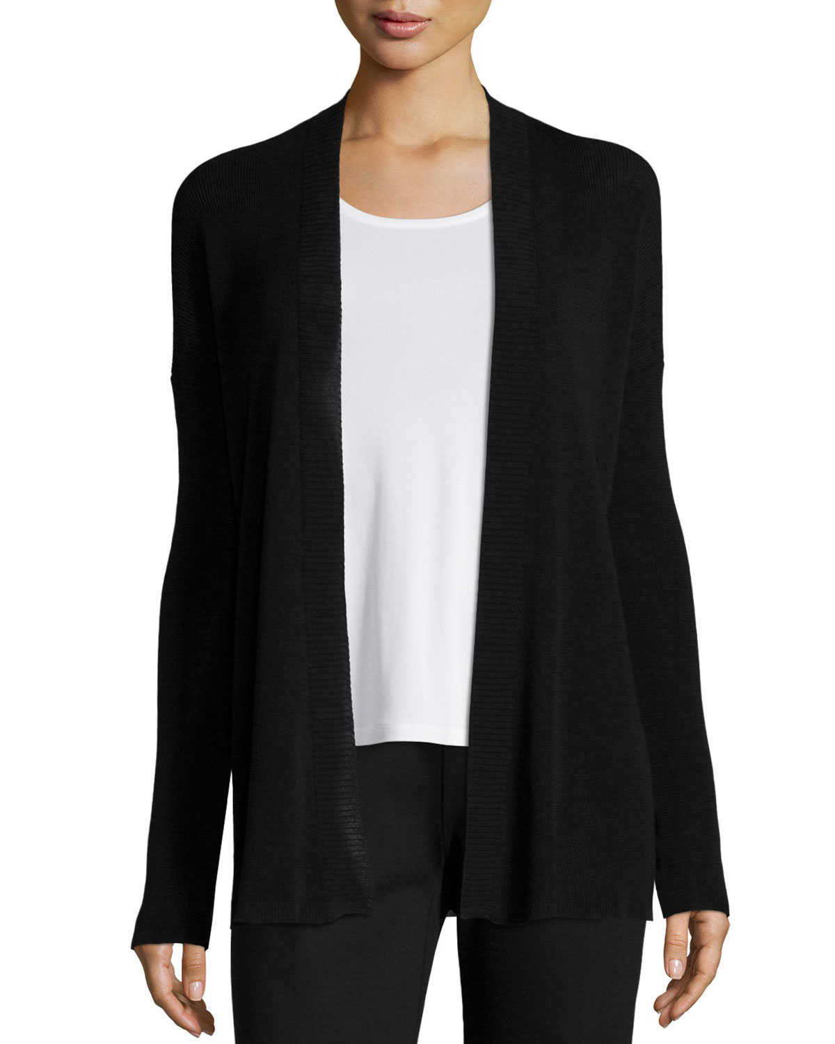 Eileen fisher Straight Fine-knit Open Cardigan in Black | Lyst