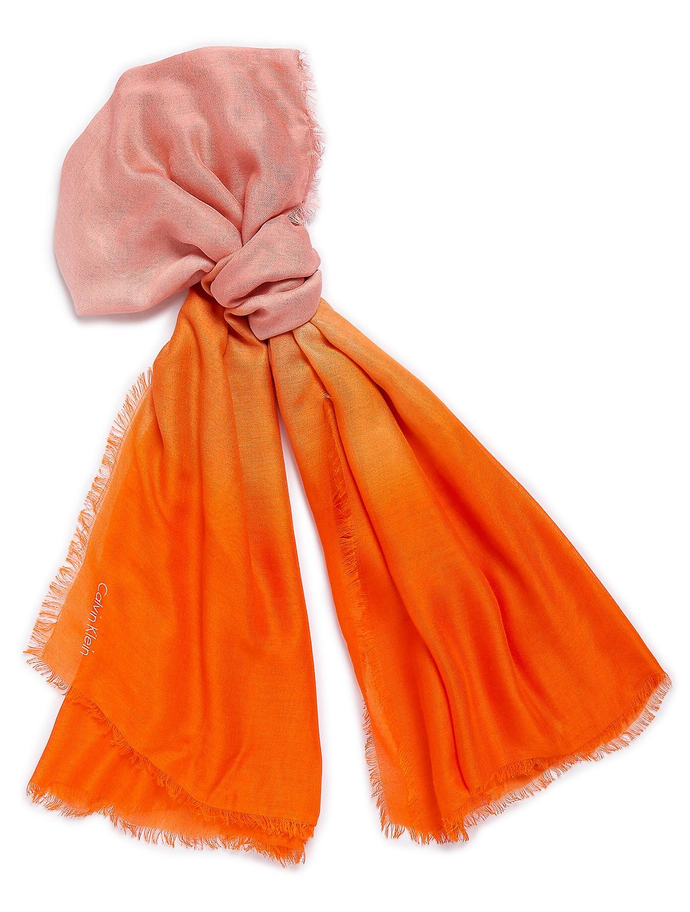 calvin klein white label ombre square scarf in orange lyst