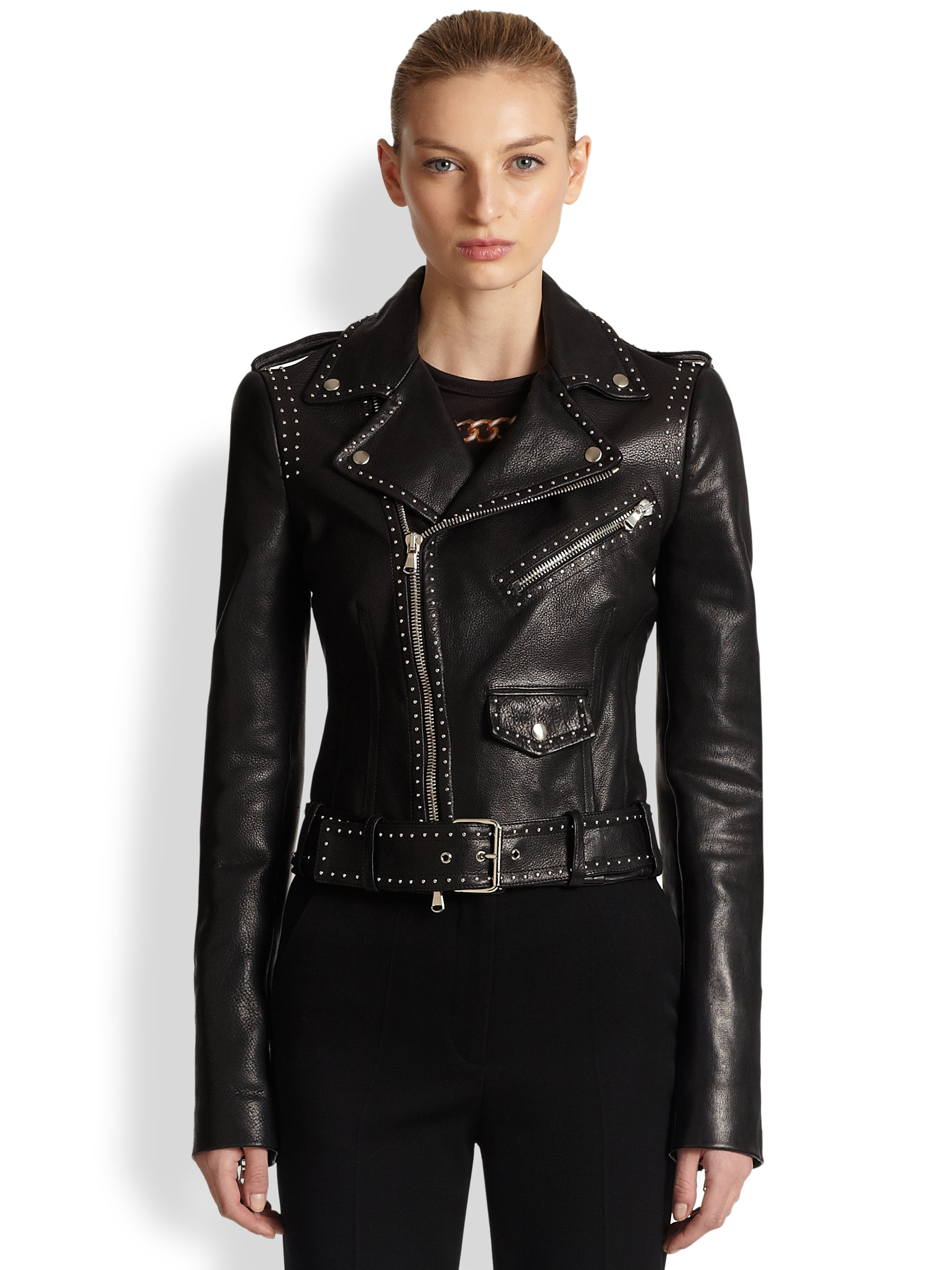 Lyst - Alexander McQueen Studded Leather Moto Jacket in Black fc139ee3f43