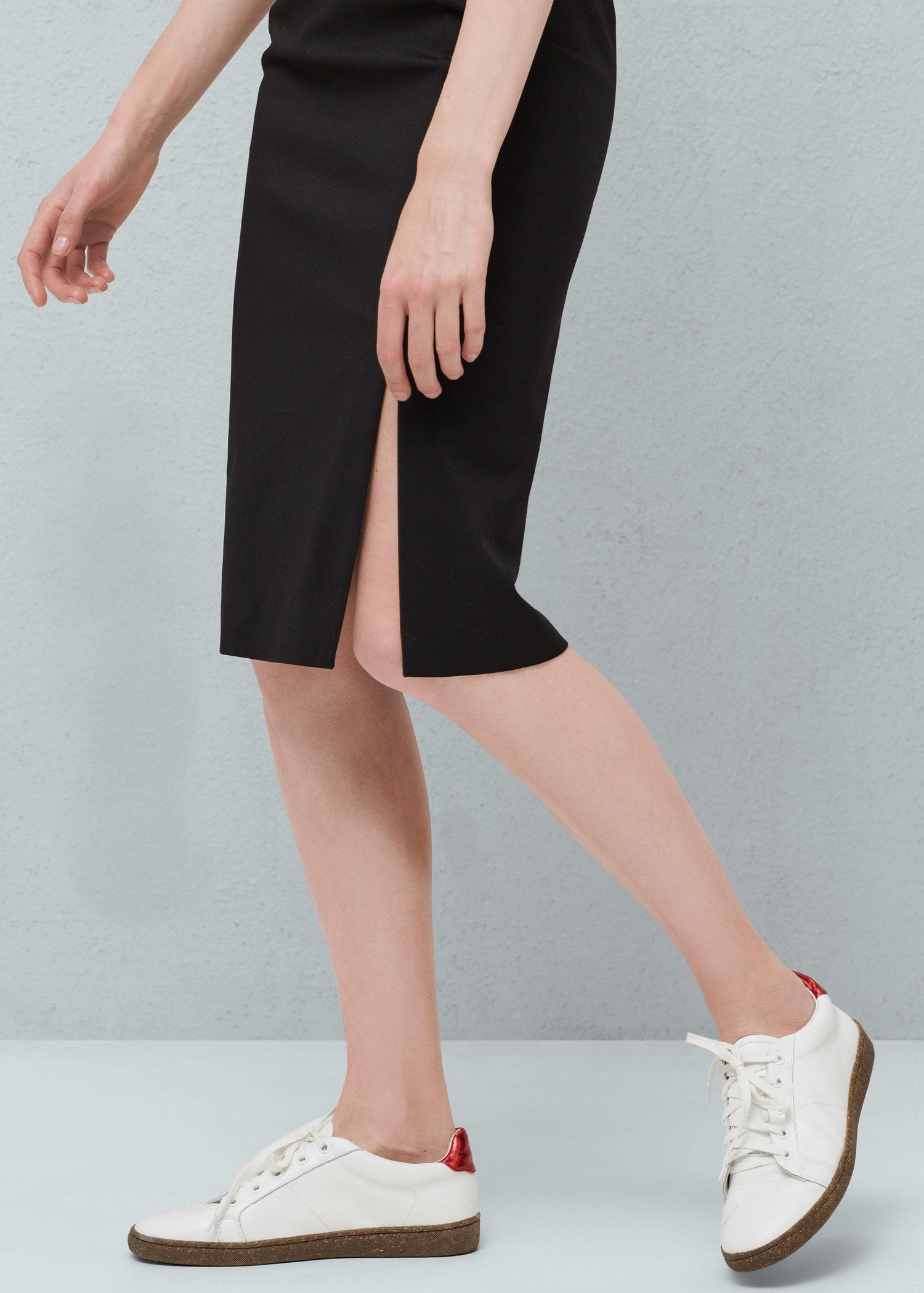 mango cotton pencil skirt in black lyst