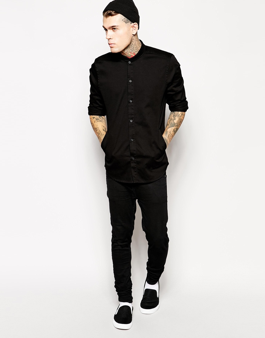 Asos Overshirt In Long Sleeve With Baseball Collar in Black for ...