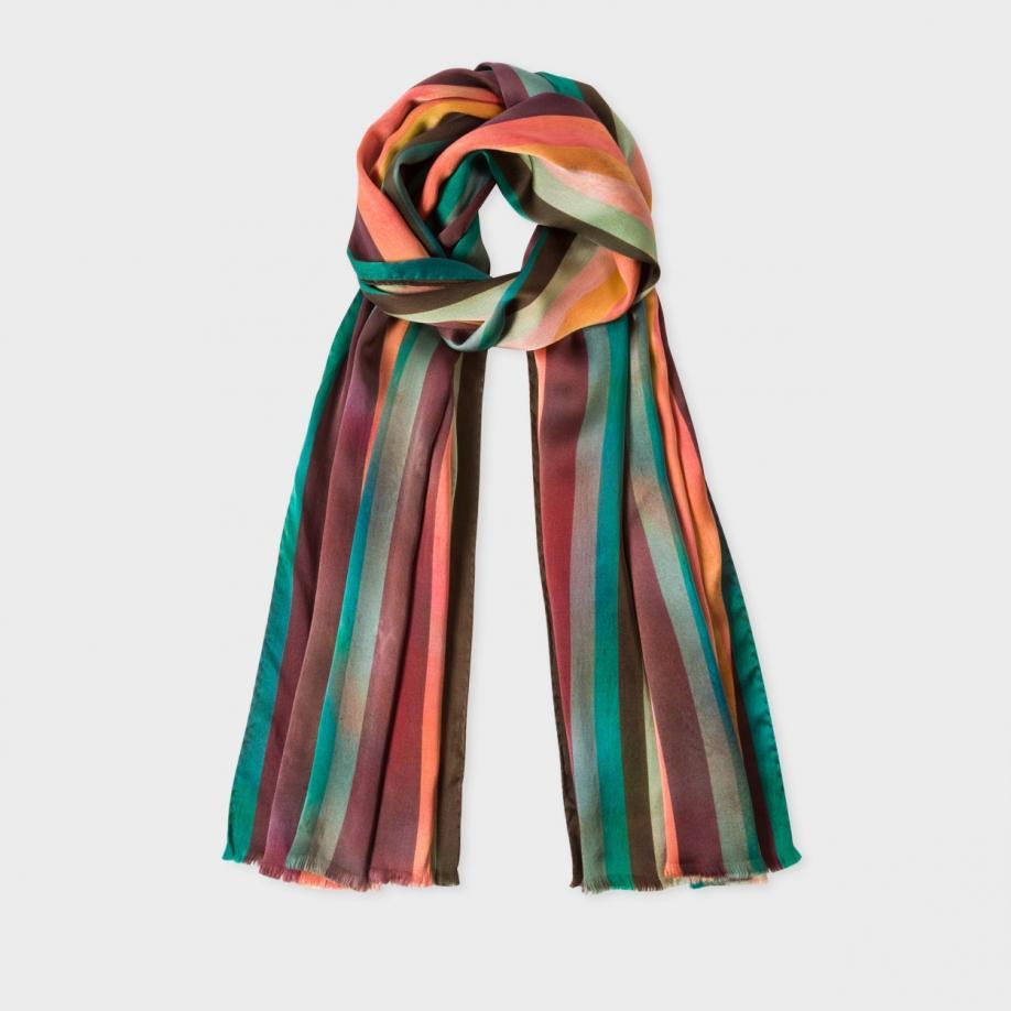 paul smith s silk stripe scarf in multicolor multi