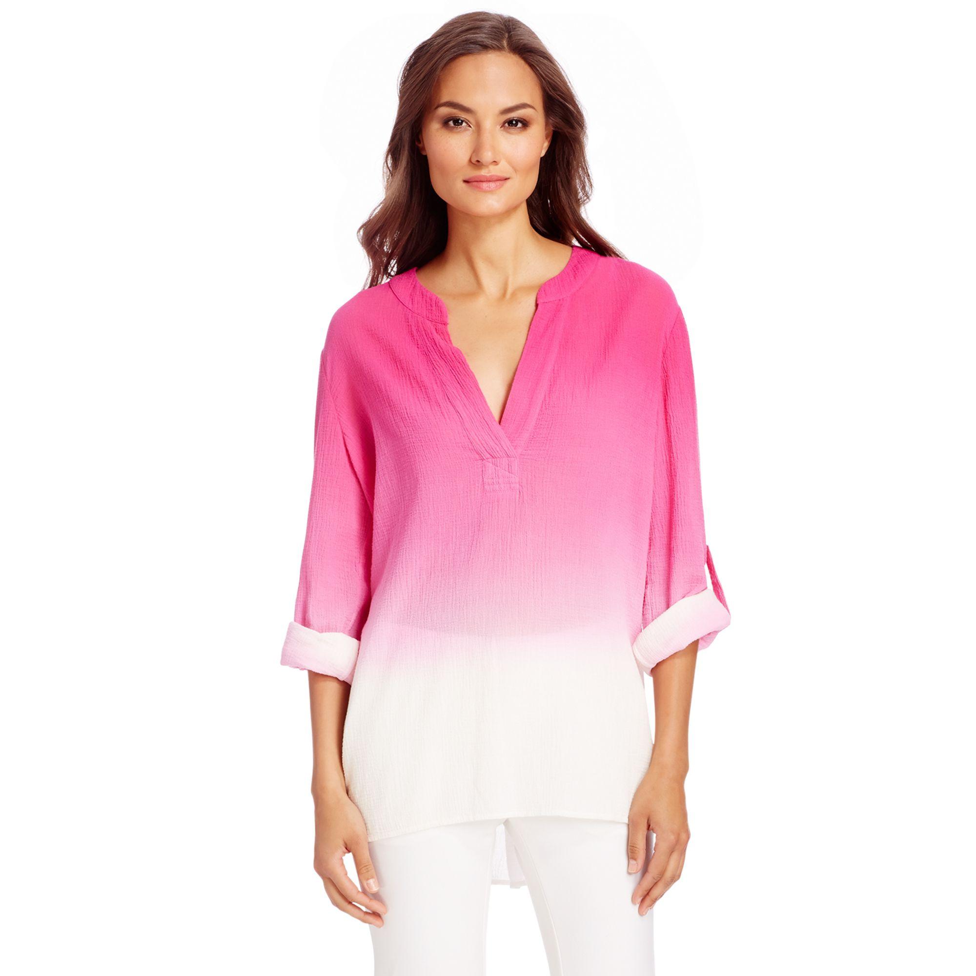 913431a515b8b9 Diane von Furstenberg Dvf Esti Ombre Cotton Blouse in Pink - Lyst