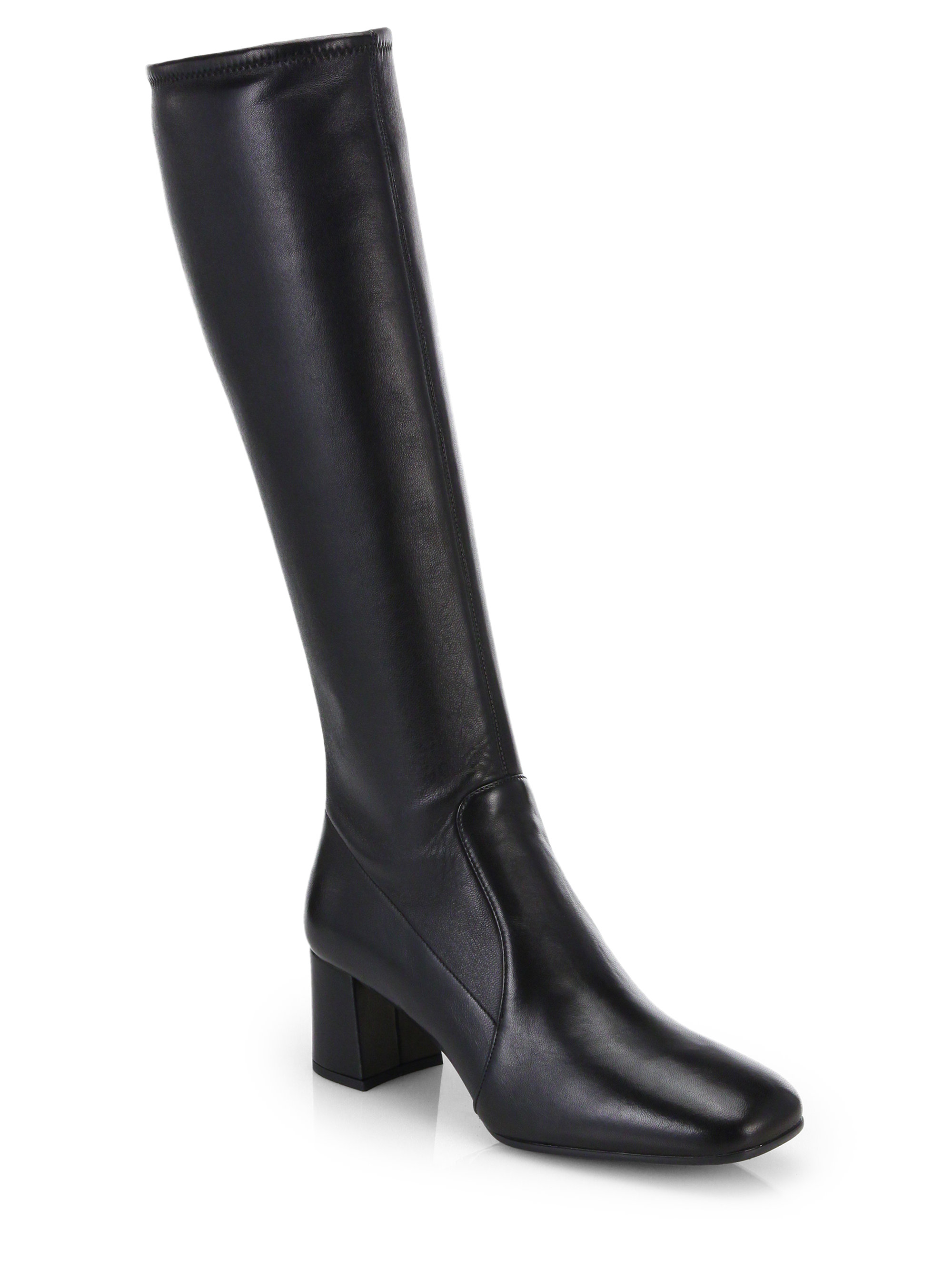 prada leather knee high boots in black lyst
