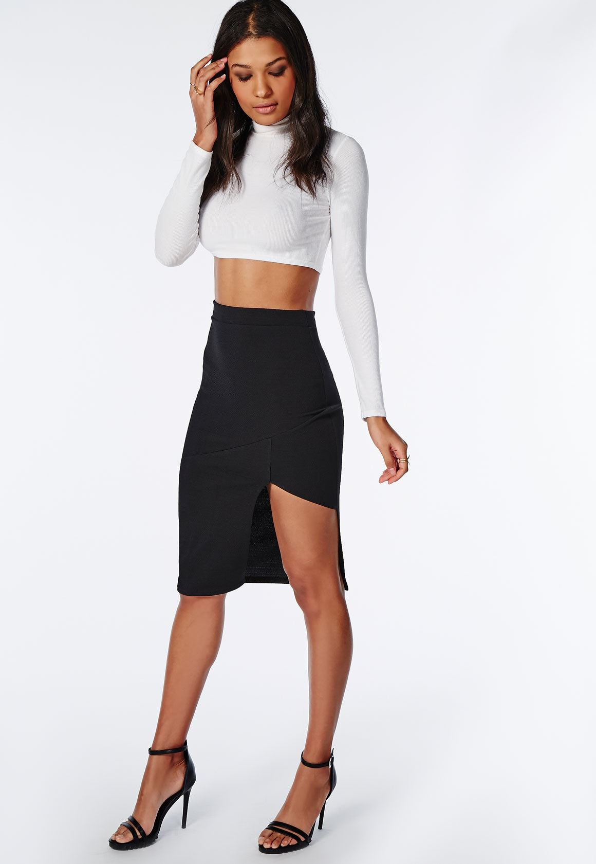 Missguided Front Split Textured Midi Skirt Black in Black | Lyst