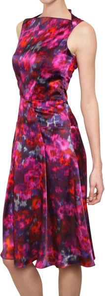 Erdem Printed Silk Satin Dress in Pink (multi pink)