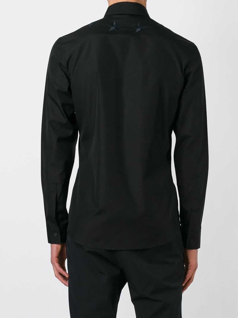 Lyst givenchy star embroidered shirt in black for men for Givenchy 5 star shirt