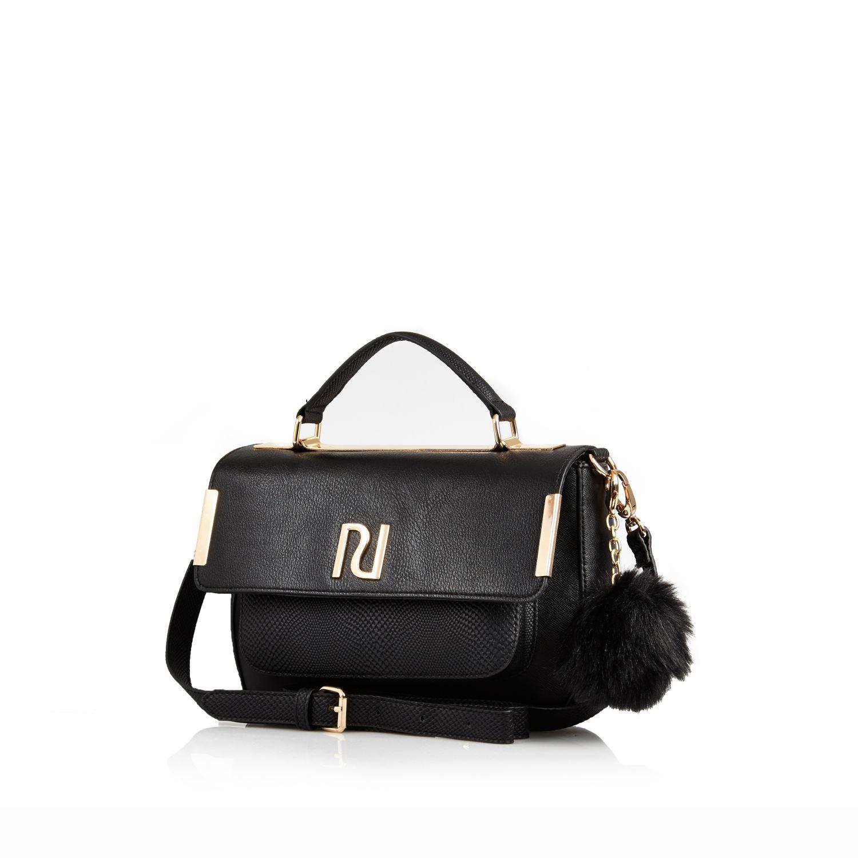 River island Black Pom Pom Mini Satchel Bag in Black | Lyst