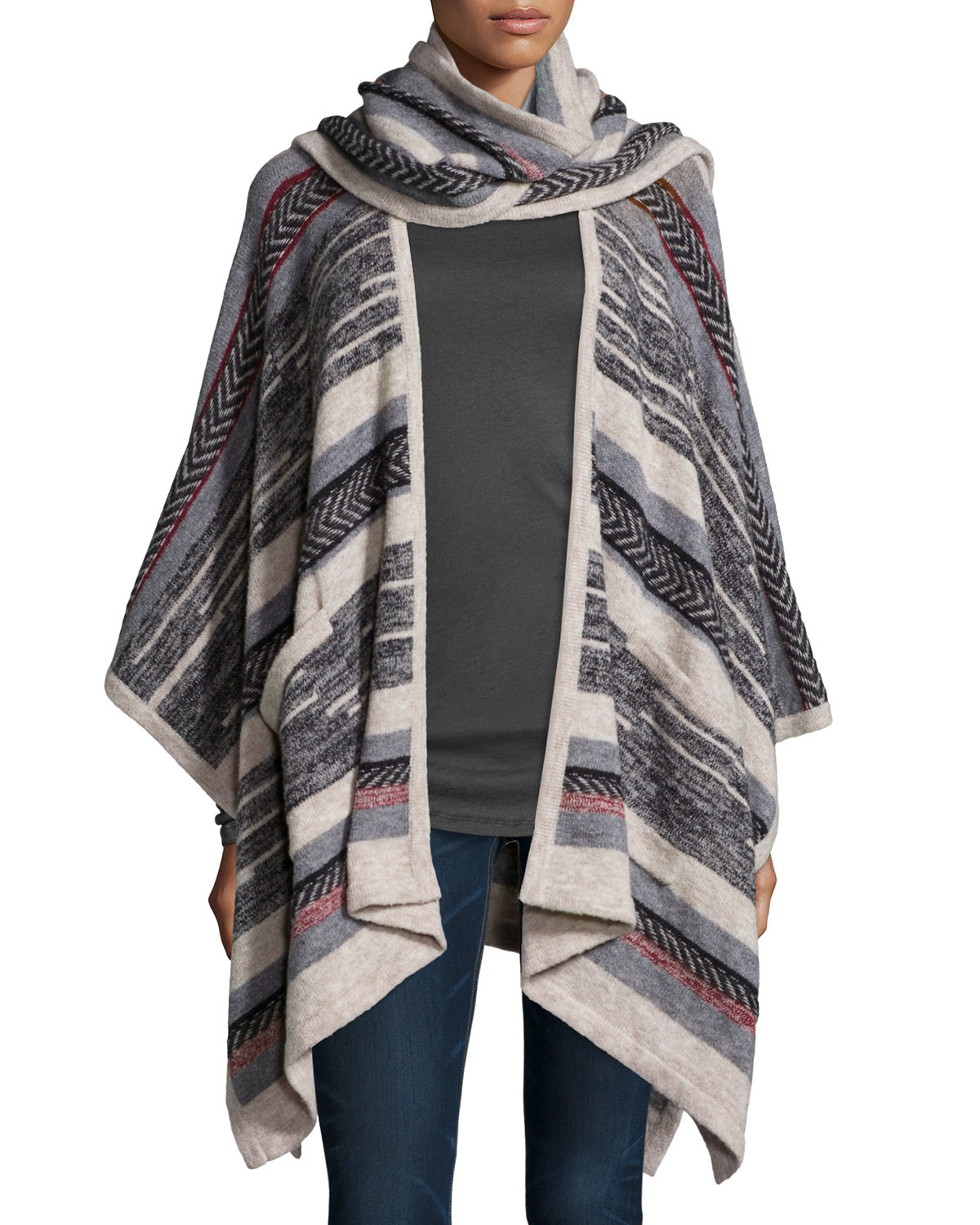 cynthia vincent striped open front scarf poncho in lyst