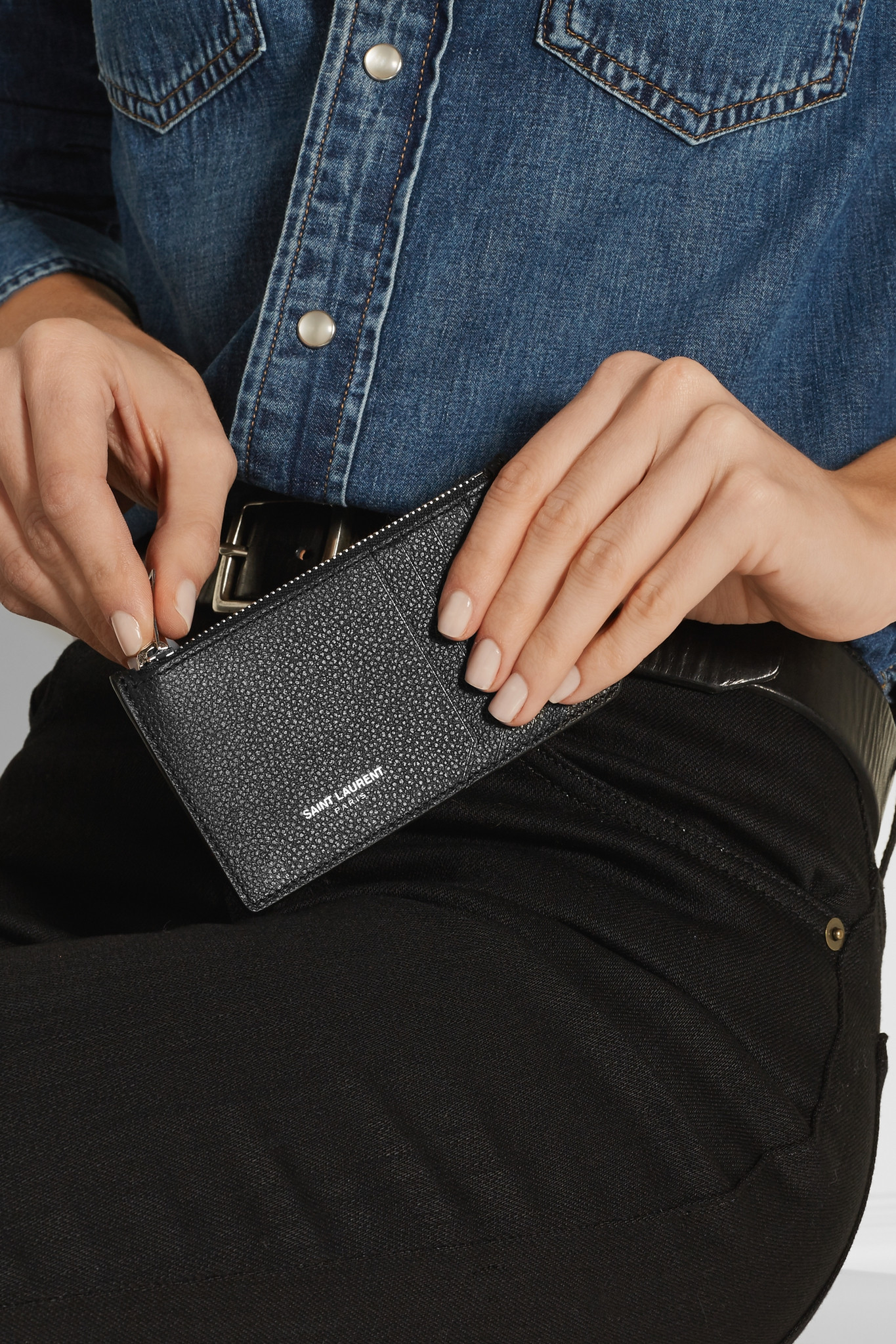 Saint Laurent Textured-leather Cardholder in Black - Lyst 2e7069f770
