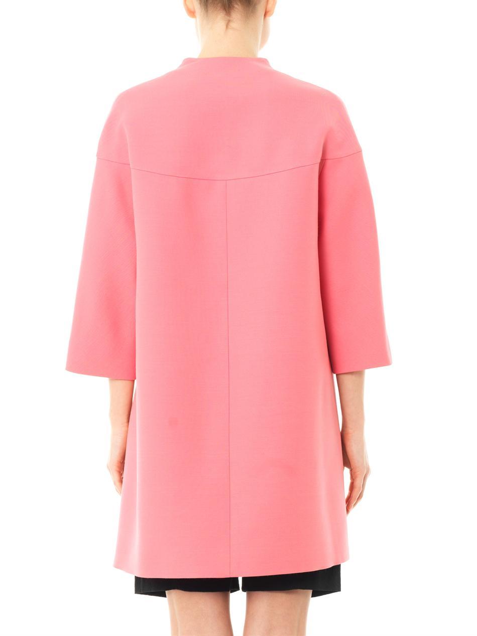 Pink Collarless Coat Coat Nj