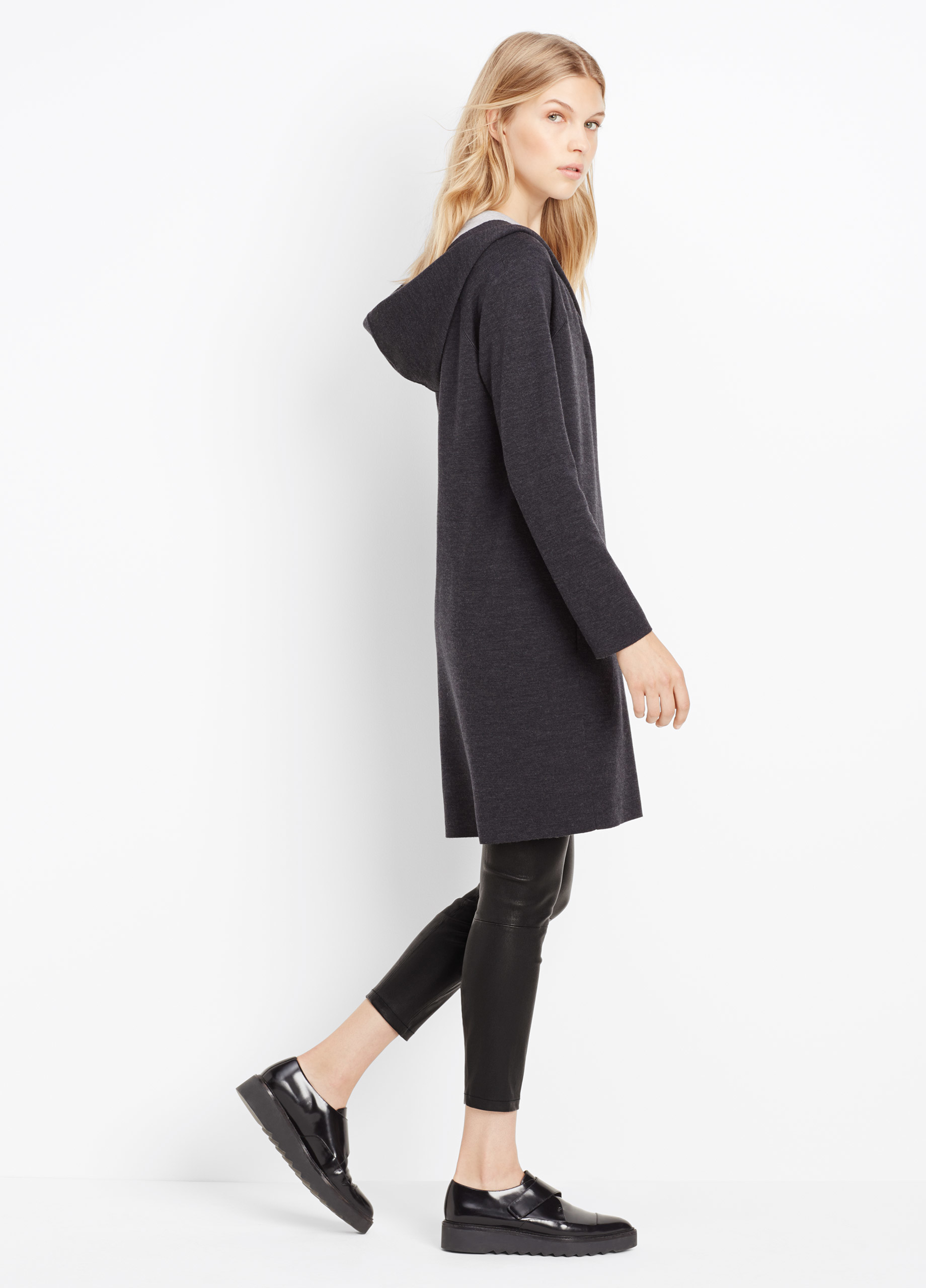 Lyst Vince Double Faced Hooded Sweater Coat In Black