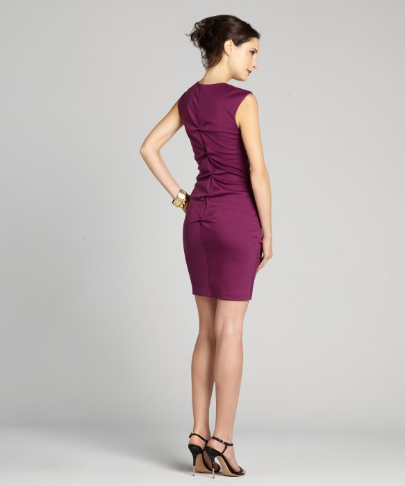 Nicole miller Purple Sleeveless Rouched V-Neck Evening Dress in ...