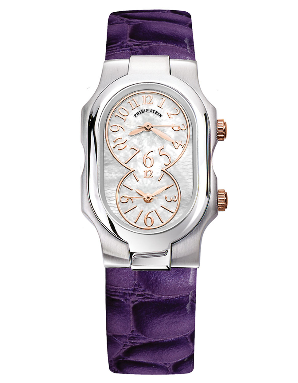 Philip stein ladies signature stainless steel dual time zone watch with leather strap in purple for Violet leather strap watch