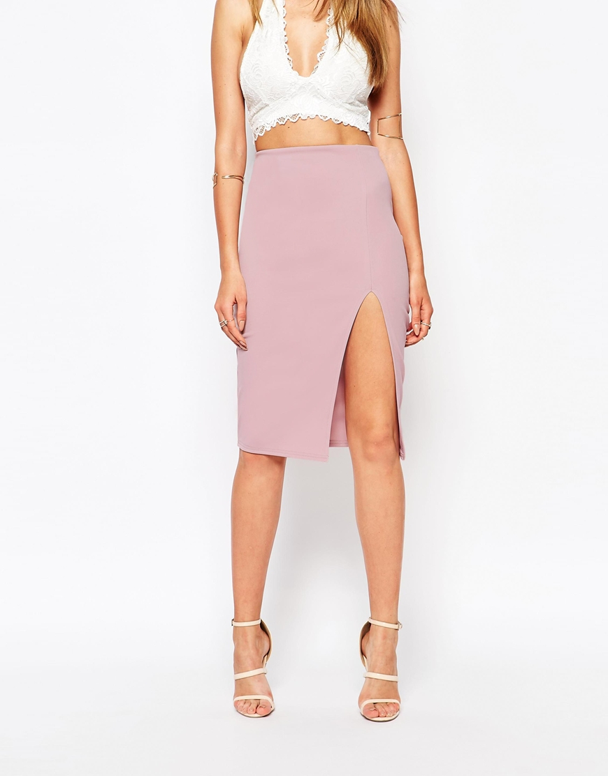 Missguided Thigh High Split Pencil Skirt in Purple | Lyst