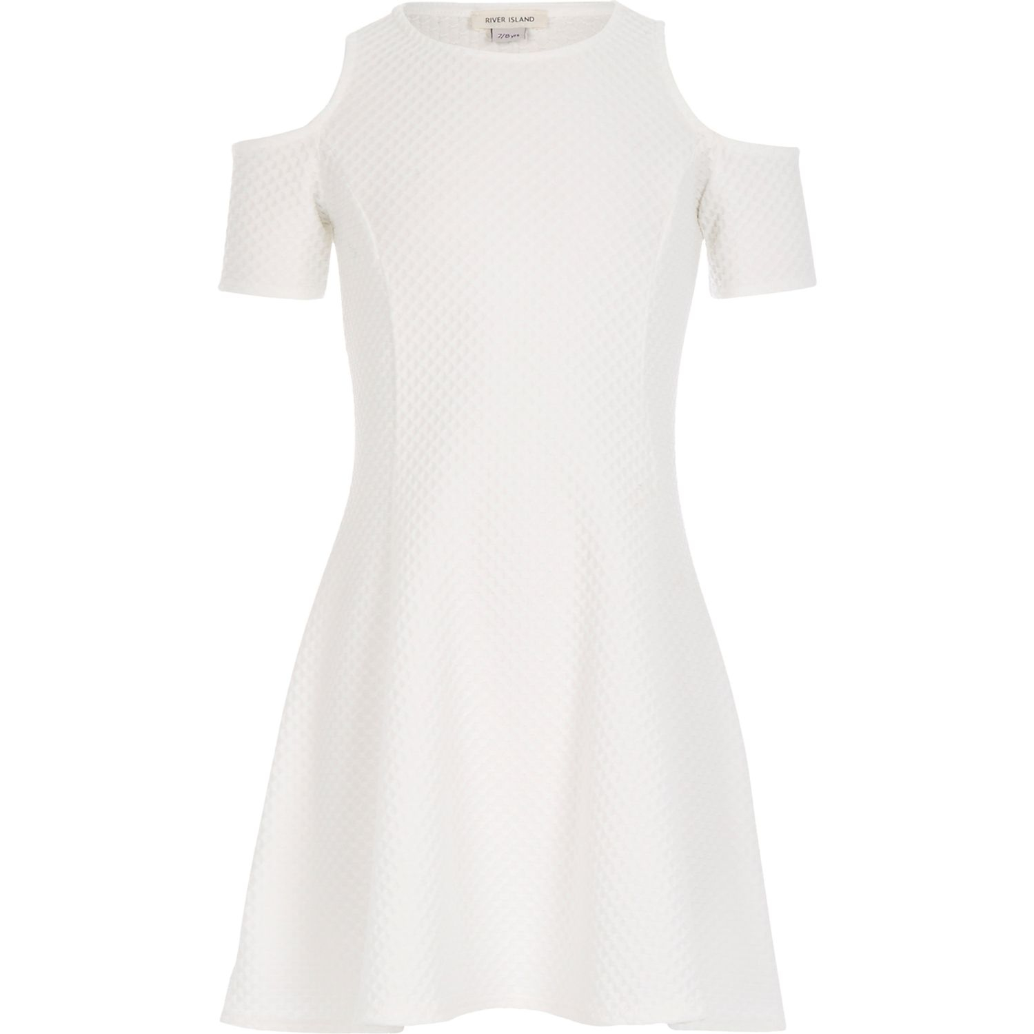 River island Girls White Textured Cold Shoulder Dress in ...